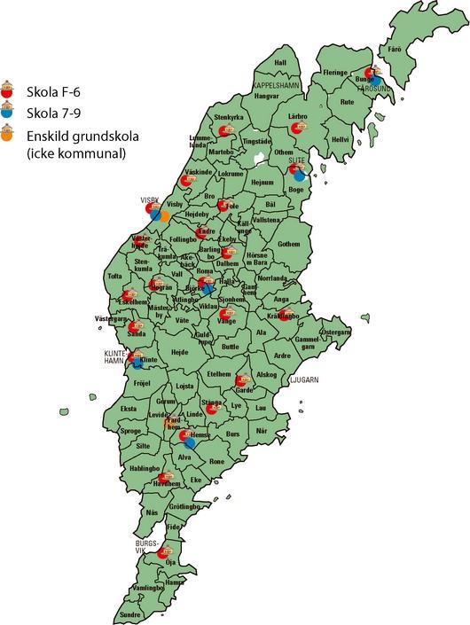 gotland karta Gotlandskarta över skolor med förskoleklass och skolår 1 9 gotland karta